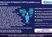 Certified flight attendant/office admin (female)