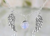Moonstone necklace - angel wings