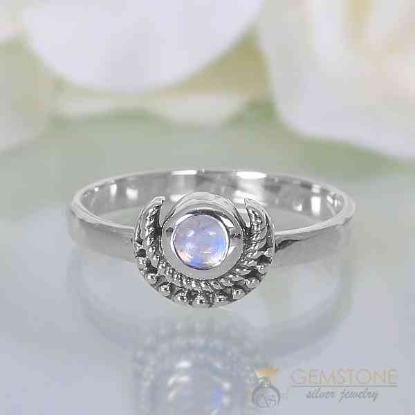 Moonstone Ring Artistic Crescent