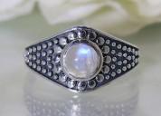 Moonstone ring tribal shield-gsj