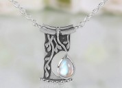 Silver moonstone necklace - night soul