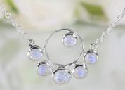 Moonstone silver necklace - moonstone marvel - gsj