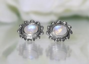 Moonstone studs - mighty waves