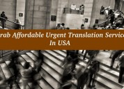 Grab affordable urgent translation services in usa
