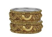 3d gold crystal bangles set
