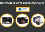 Solve epson printer error code 0xe3 by +1-877-760-
