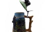 German style beer stein with metal sculptured lid