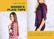 Women's plaid tops by southern honey boutique