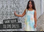 Pompous girls short sleeve tie-dye dress-exist inc