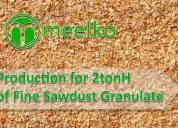 Production for 2tonh of fine sawdust granulate