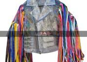Harley quinn fringe pvc jacket