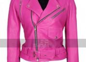 Jessica alba hot pink brando belted biker leather