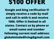 Google verificatio $100 offer