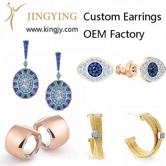 Custom earrings gold plated silver jewelry supplie