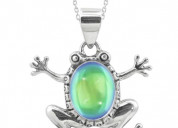 Sterling silver frog pendant with crystal stone
