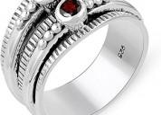 Genuine gemstone ring - .925 sterling silver ring-