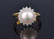 Retro 18k gold akoya pearl diamond halo ring