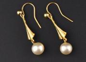 Art deco style 10k gold pearl drop earrings