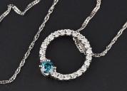 Circle of life blue diamond 14k white gold necklac