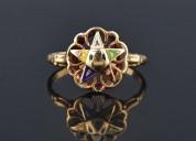 Order of the eastern star enamel ring, masonic oes