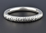 Victorian antique silver wide engraved repousse br