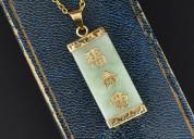 Vintage 14k gold chinese symbol jade necklace