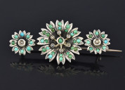 Persian turquoise seed pearl victorian brooch pin