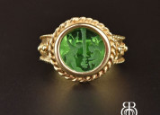 Italian 14k gold emerald quartz intaglio ring, wax