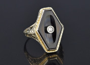 Art deco 18k white gold diamond black onyx ring