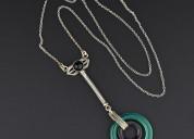 Vintage silver black onyx chrysoprase hoop necklac