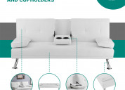Futon sofa bed with cup holders