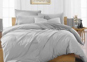 Soft, silky and comfortable light grey duvet cover