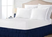 Navy blue multi ruffled 18 inch bed skirts