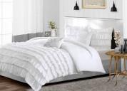 Classy white ruffle duvet cover
