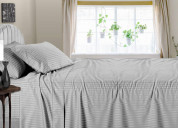 600 thread count striped light grey sheets