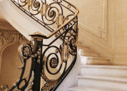 Custom hand-forged wrought iron stair railings